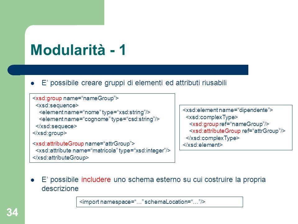 Modularità - 1 E' possibile creare gruppi di elementi ed attributi riusabili.