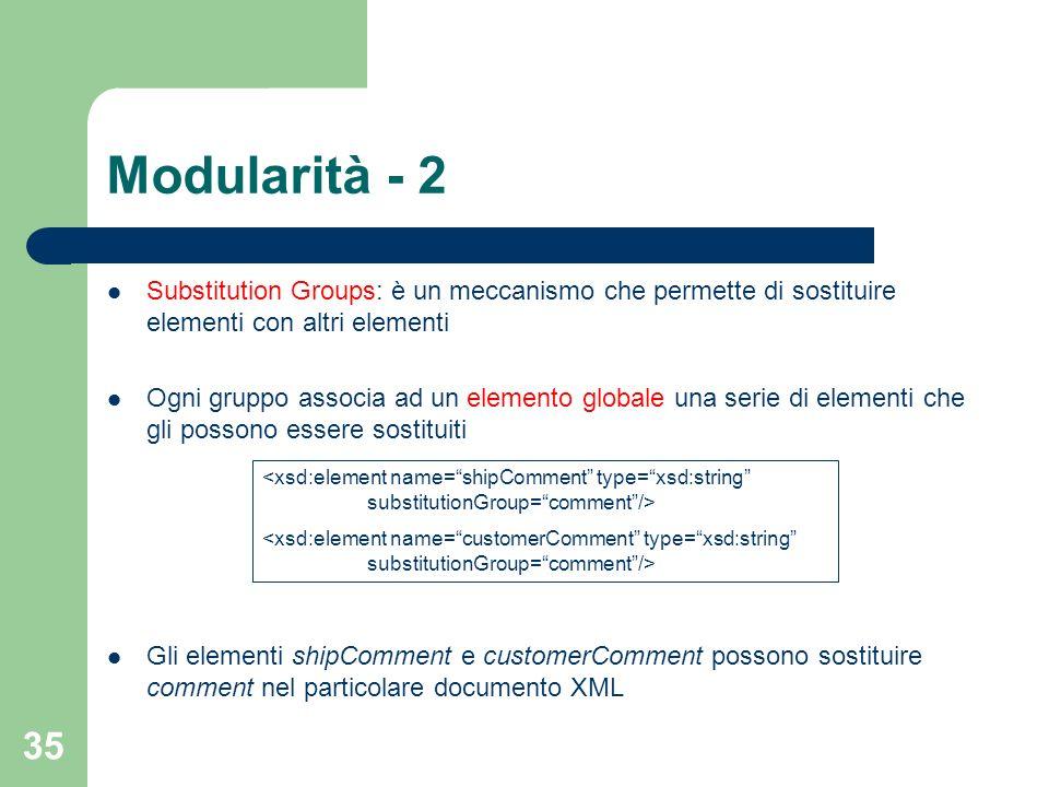 Modularità - 2 Substitution Groups: è un meccanismo che permette di sostituire elementi con altri elementi.