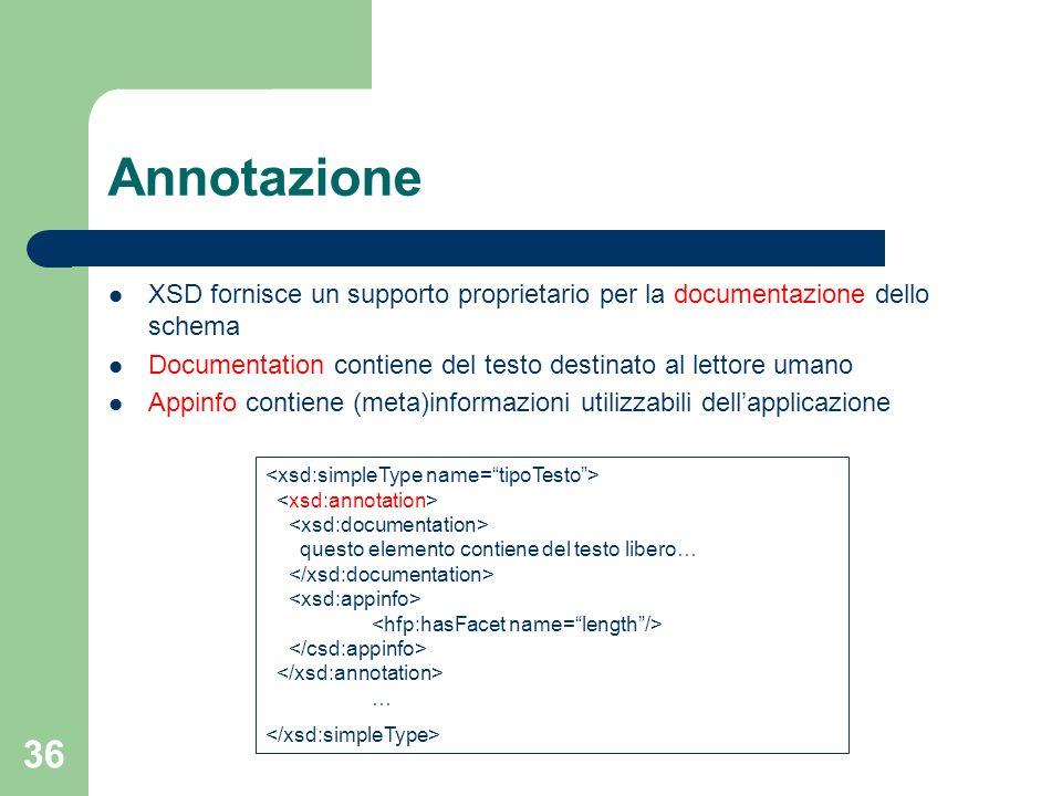 Annotazione XSD fornisce un supporto proprietario per la documentazione dello schema. Documentation contiene del testo destinato al lettore umano.