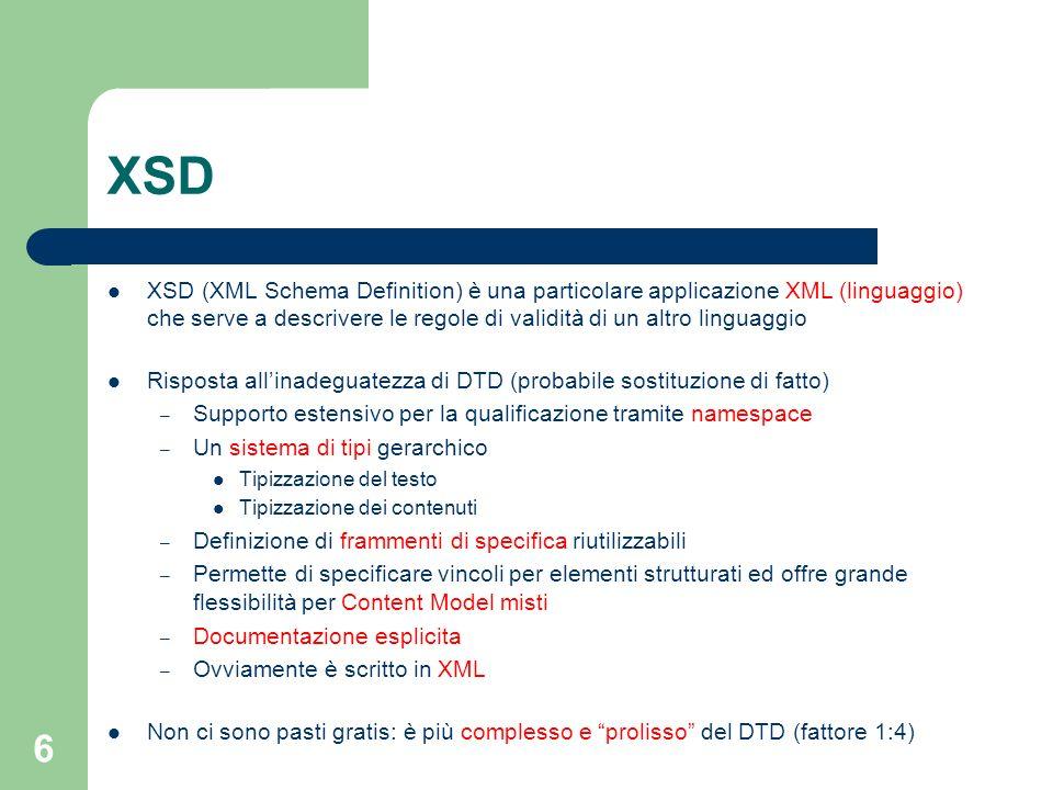 XSD XSD (XML Schema Definition) è una particolare applicazione XML (linguaggio) che serve a descrivere le regole di validità di un altro linguaggio.