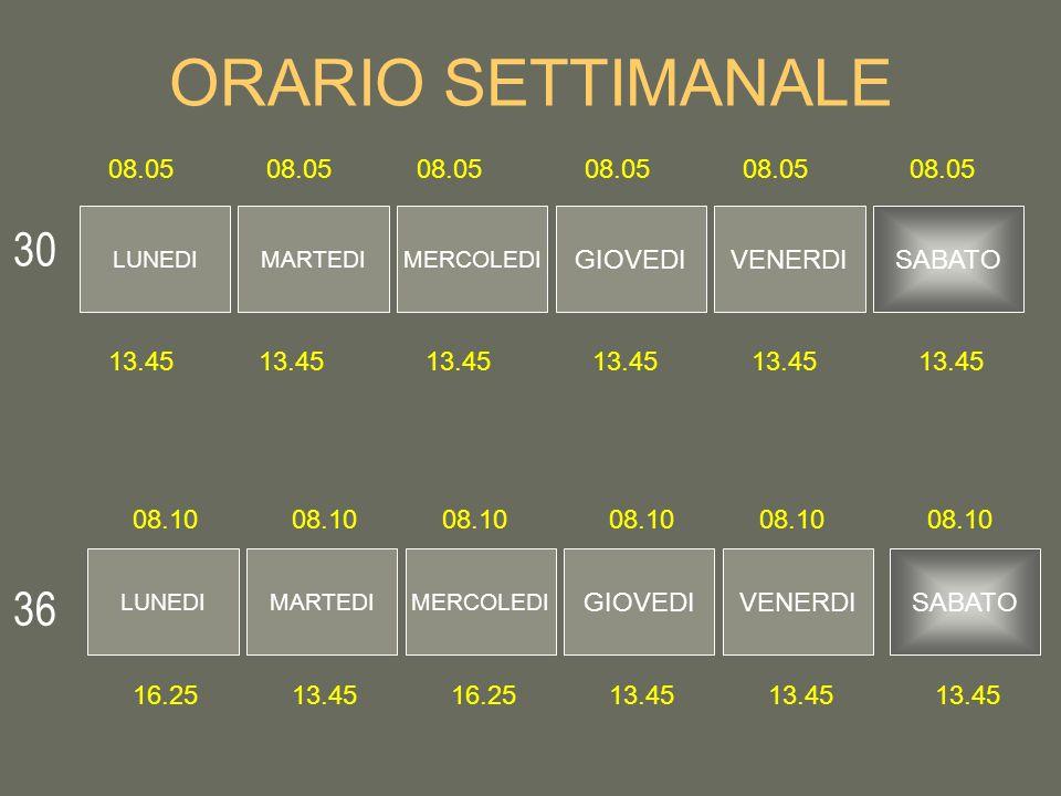 ORARIO SETTIMANALE 30 36 08.05 08.05 08.05 08.05 08.05 08.05 GIOVEDI