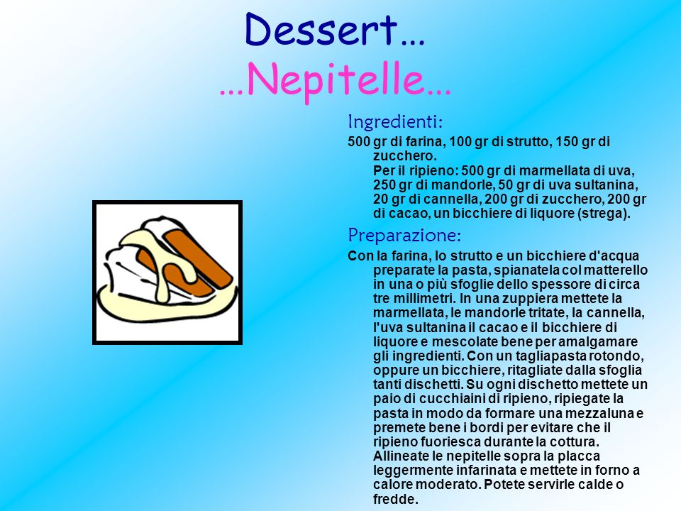 Dessert… …Nepitelle… Ingredienti: Preparazione: