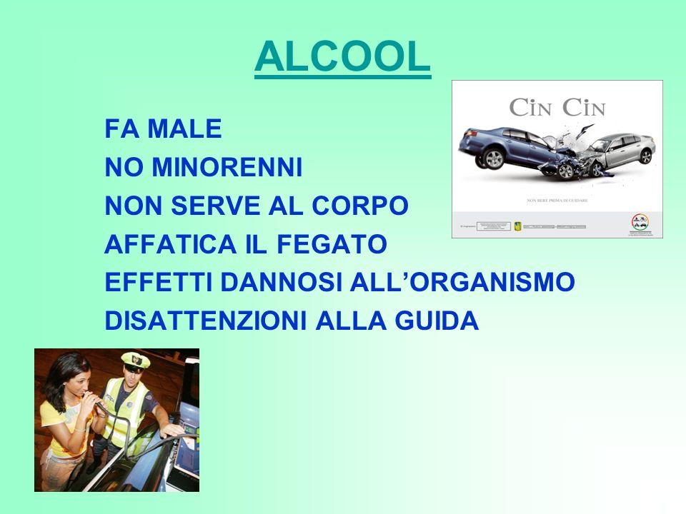ALCOOL FA MALE NO MINORENNI NON SERVE AL CORPO AFFATICA IL FEGATO