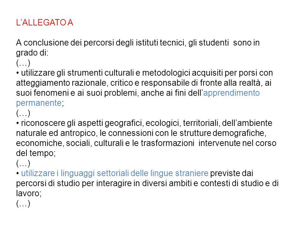 L'ALLEGATO A A conclusione dei percorsi degli istituti tecnici, gli studenti sono in grado di: (…)