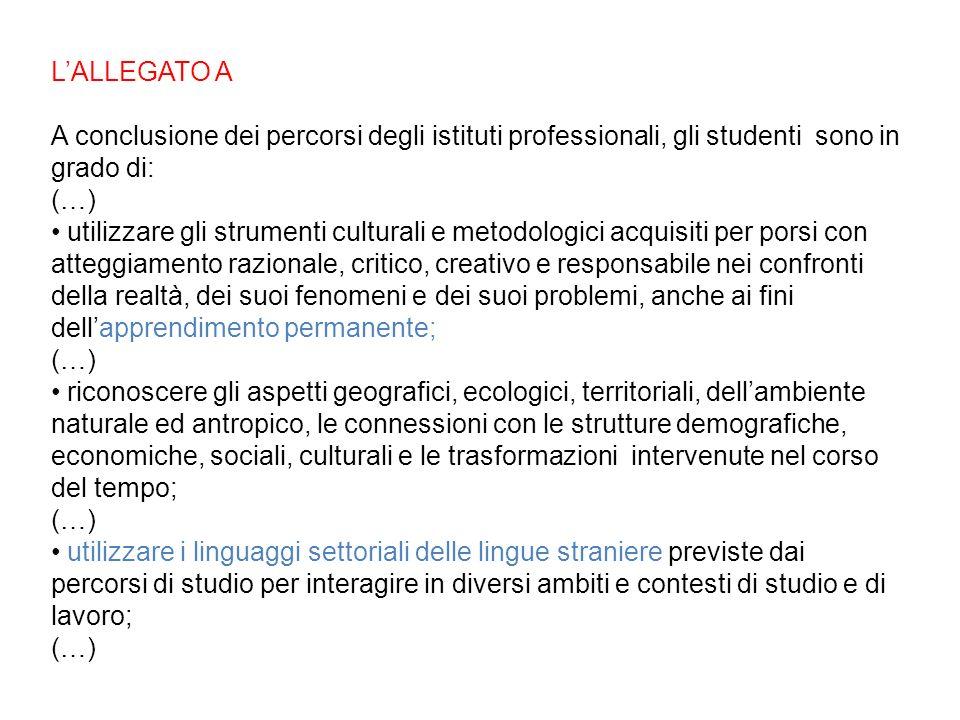 L'ALLEGATO A A conclusione dei percorsi degli istituti professionali, gli studenti sono in grado di: