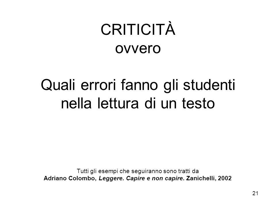 CRITICITÀ ovvero Quali errori fanno gli studenti nella lettura di un testo Tutti gli esempi che seguiranno sono tratti da Adriano Colombo, Leggere.
