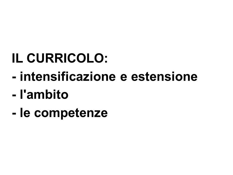 IL CURRICOLO: - intensificazione e estensione - l ambito - le competenze