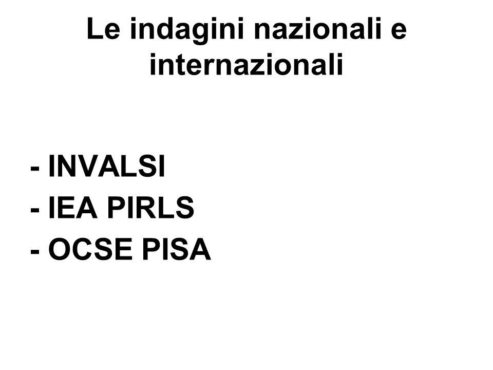 Le indagini nazionali e internazionali