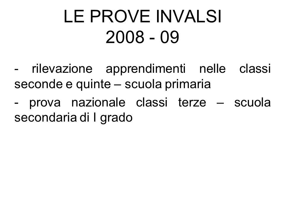 LE PROVE INVALSI 2008 - 09- rilevazione apprendimenti nelle classi seconde e quinte – scuola primaria.