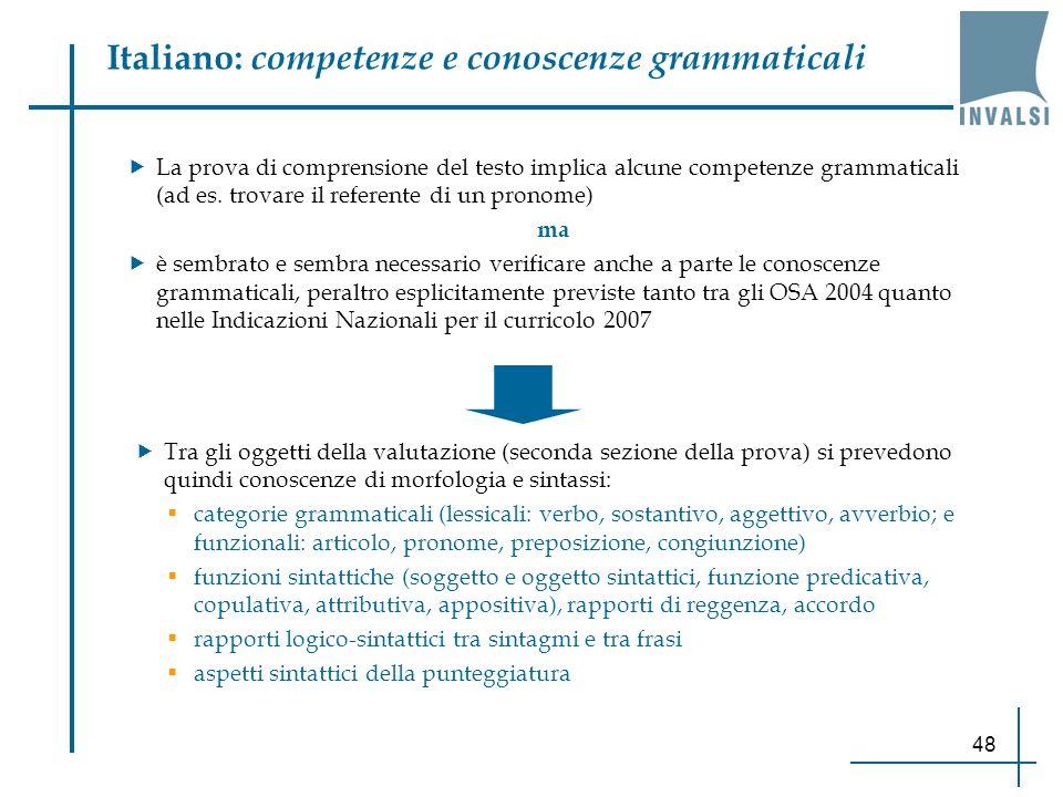 Italiano: competenze e conoscenze grammaticali