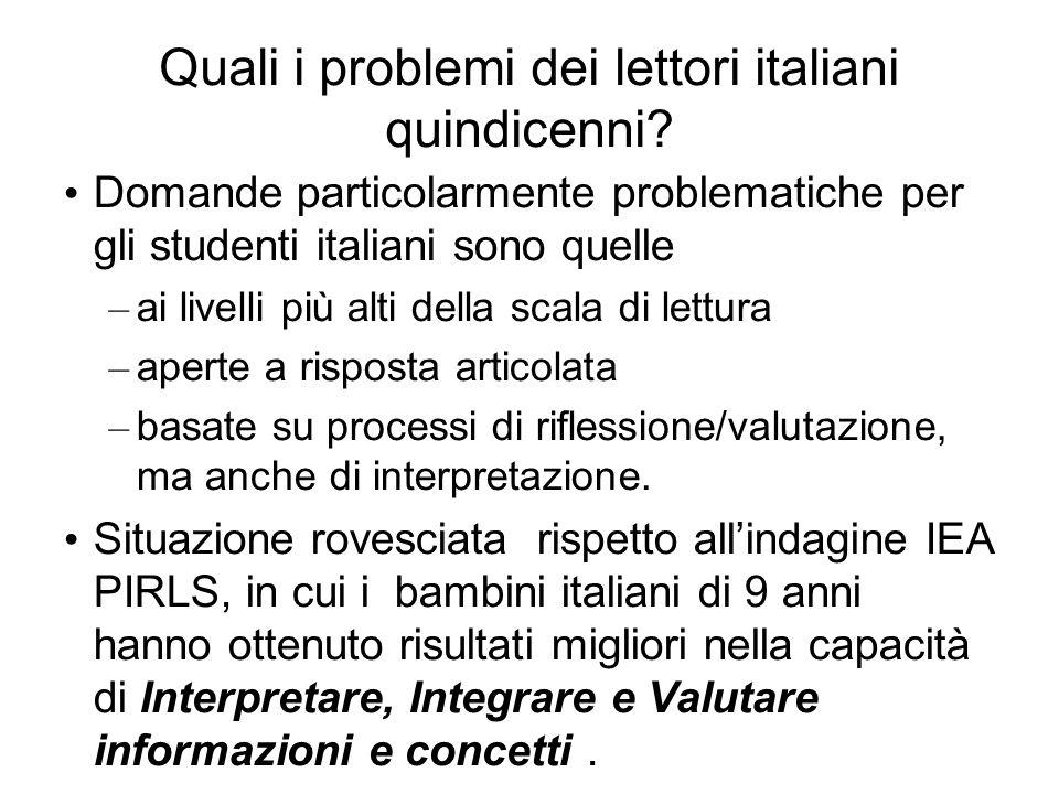 Quali i problemi dei lettori italiani quindicenni