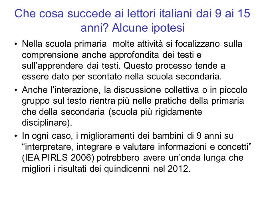 Che cosa succede ai lettori italiani dai 9 ai 15 anni Alcune ipotesi
