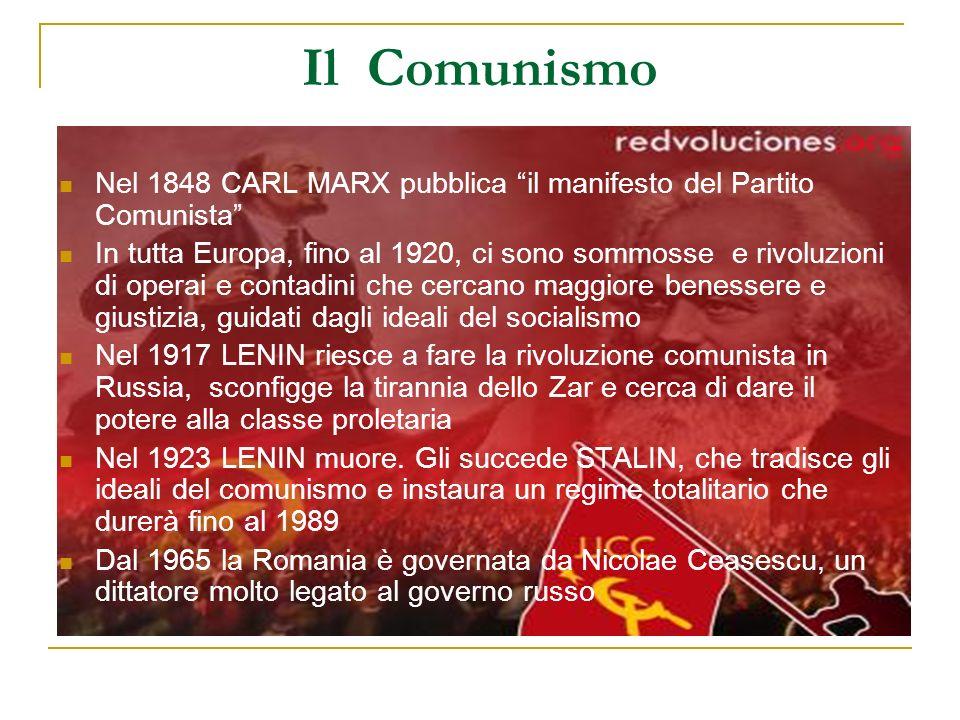 Il Comunismo Nel 1848 CARL MARX pubblica il manifesto del Partito Comunista