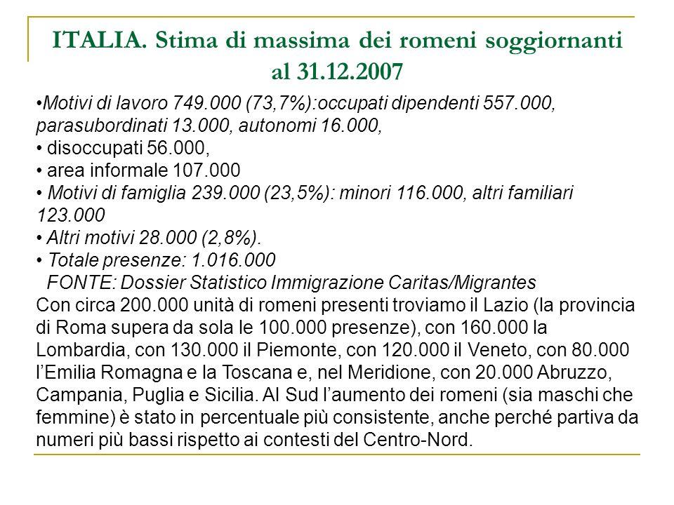 ITALIA. Stima di massima dei romeni soggiornanti al 31.12.2007