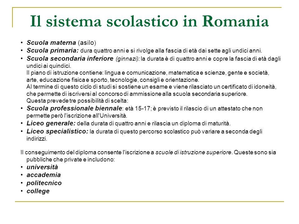 Il sistema scolastico in Romania