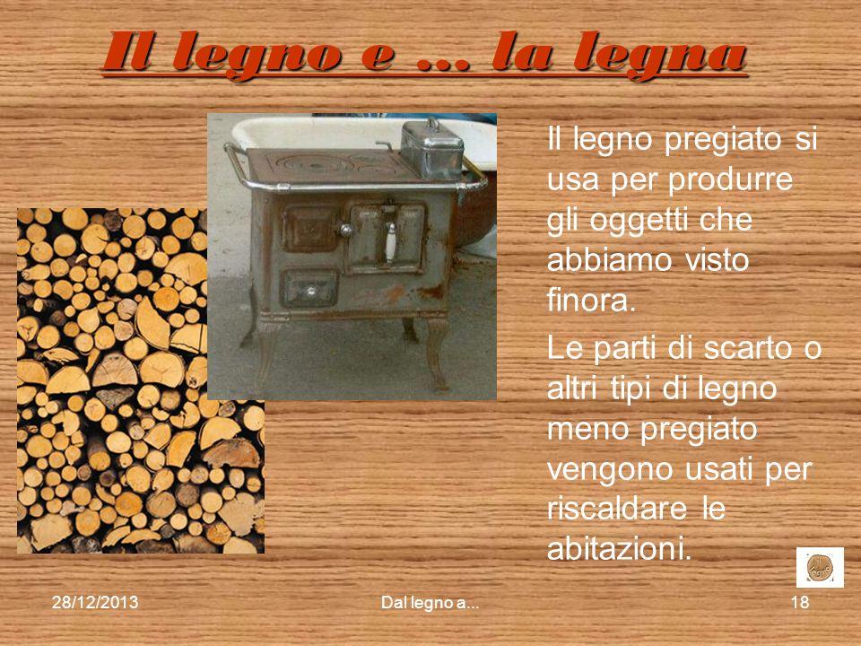 Il legno e … la legna Il legno pregiato si usa per produrre gli oggetti che abbiamo visto finora.