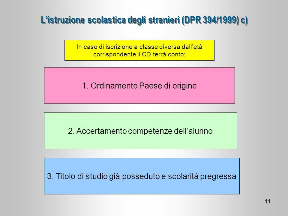L'istruzione scolastica degli stranieri (DPR 394/1999) c)