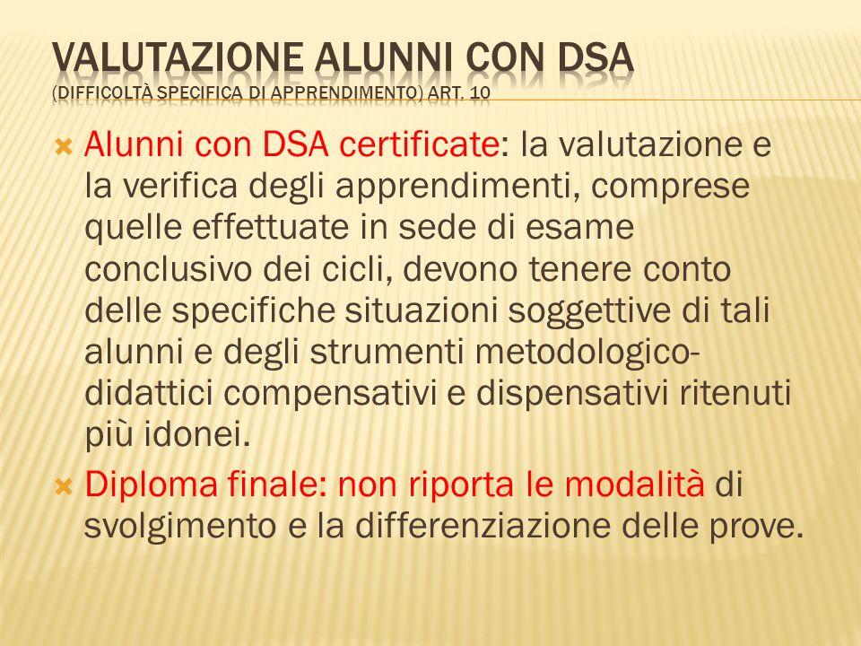 Valutazione alunni con DSA (difficoltà specifica di apprendimento) art
