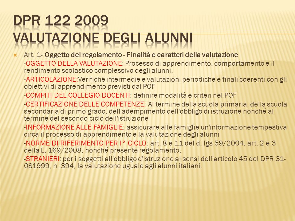 Dpr 122 2009 Valutazione degli alunni