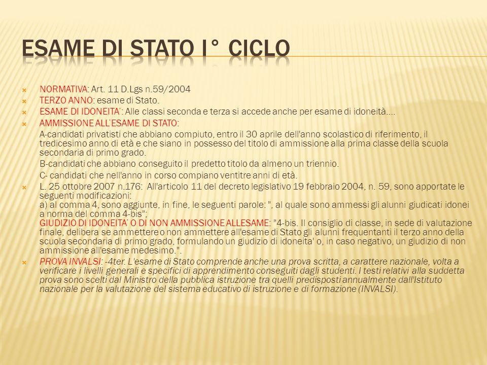 ESAME DI STATO I° CICLO NORMATIVA: Art. 11 D.Lgs n.59/2004
