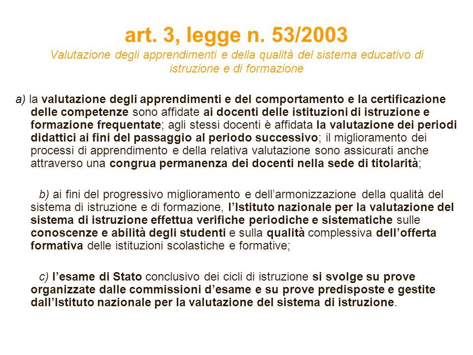 art. 3, legge n. 53/2003 Valutazione degli apprendimenti e della qualità del sistema educativo di istruzione e di formazione