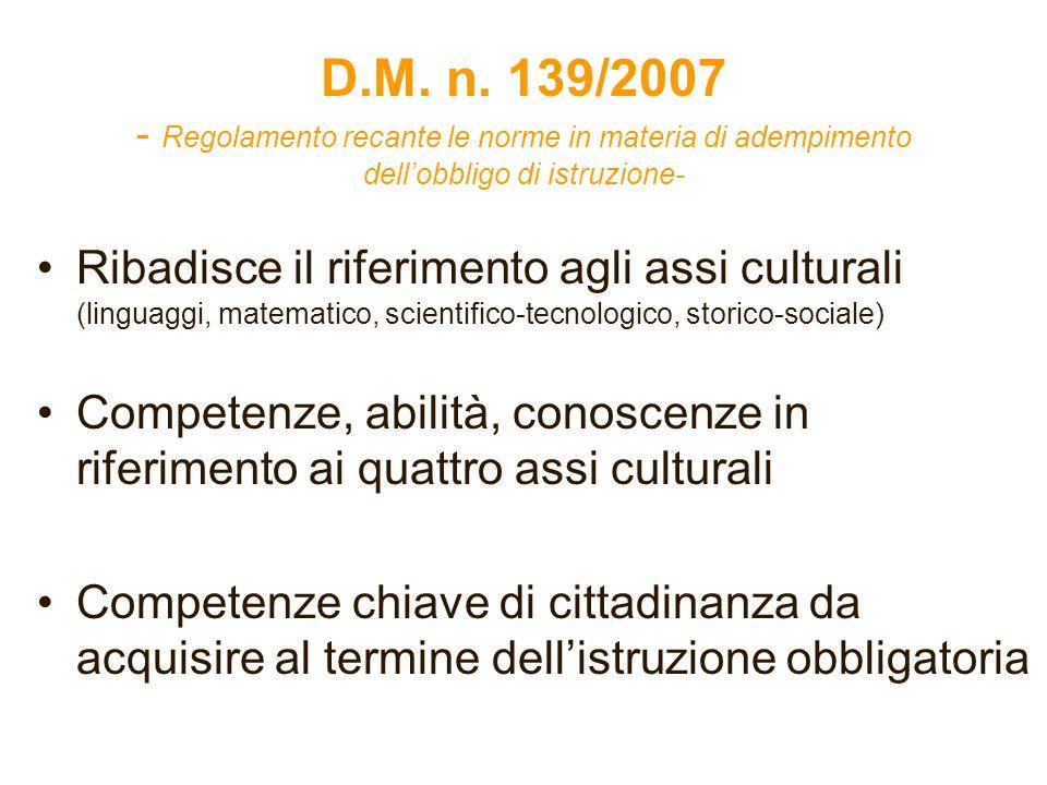 D.M. n. 139/2007 - Regolamento recante le norme in materia di adempimento dell'obbligo di istruzione-
