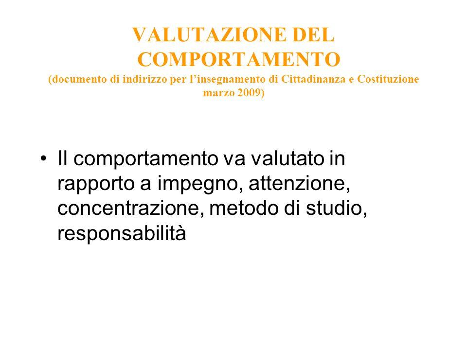 VALUTAZIONE DEL COMPORTAMENTO (documento di indirizzo per l'insegnamento di Cittadinanza e Costituzione marzo 2009)