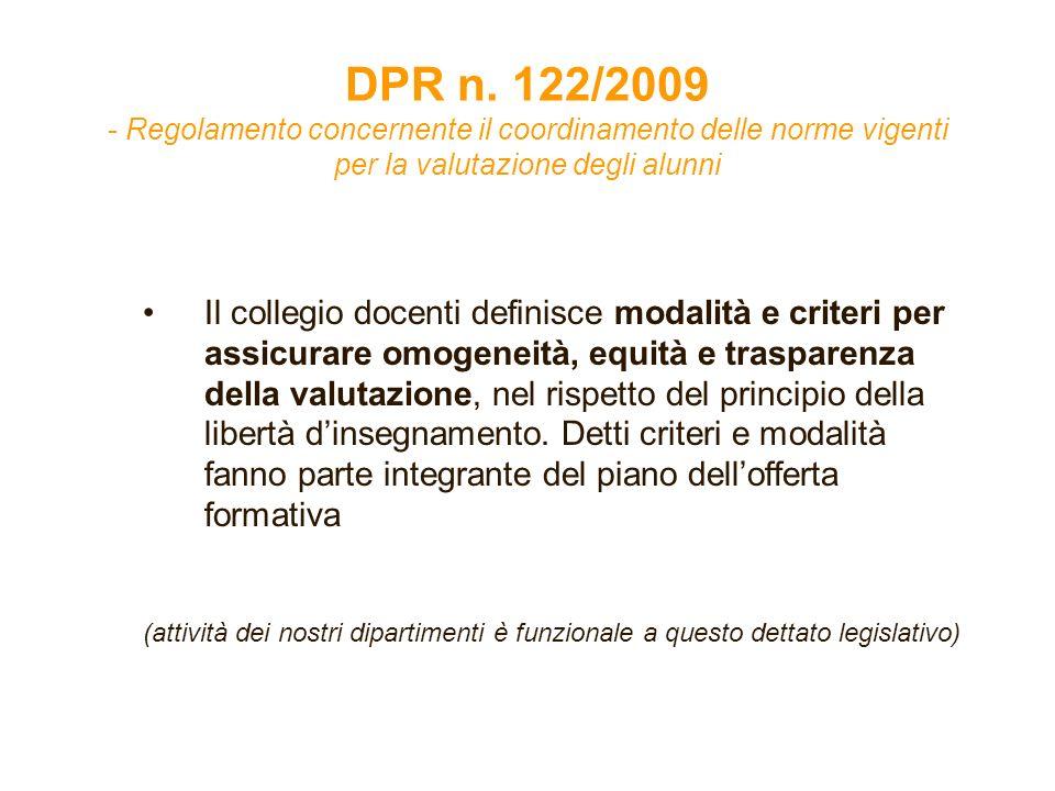 DPR n. 122/2009 - Regolamento concernente il coordinamento delle norme vigenti per la valutazione degli alunni