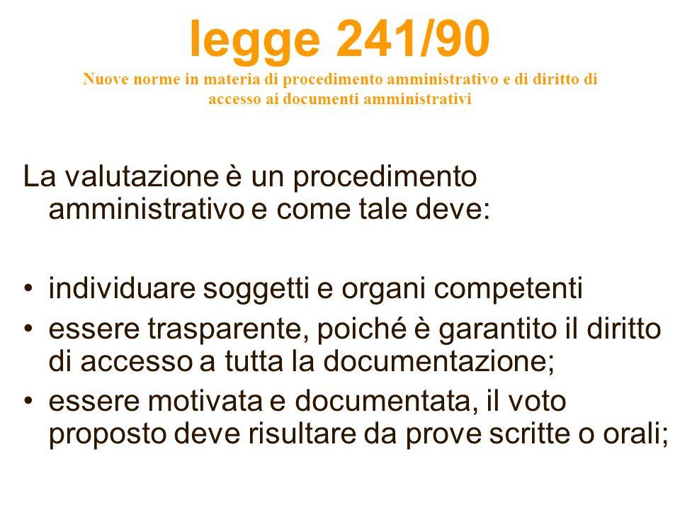 legge 241/90 Nuove norme in materia di procedimento amministrativo e di diritto di accesso ai documenti amministrativi