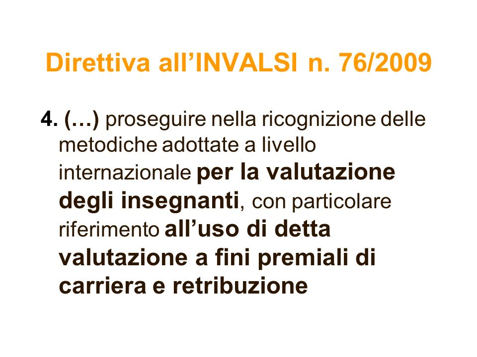 Direttiva all'INVALSI n. 76/2009