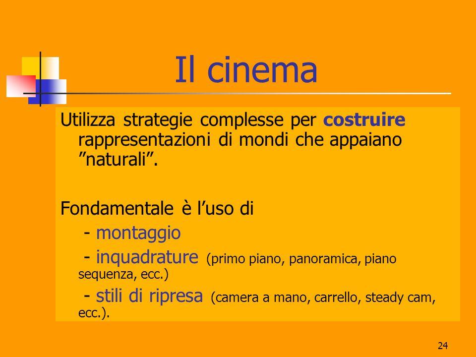 Il cinema Utilizza strategie complesse per costruire rappresentazioni di mondi che appaiano naturali .