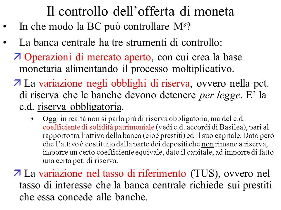 Il controllo dell'offerta di moneta