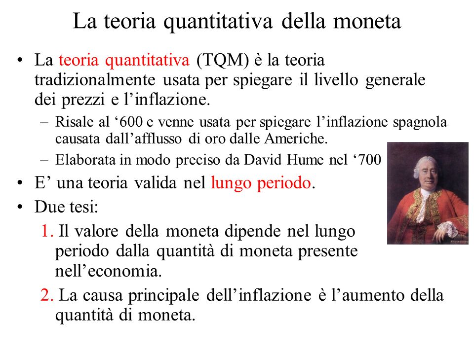 La teoria quantitativa della moneta