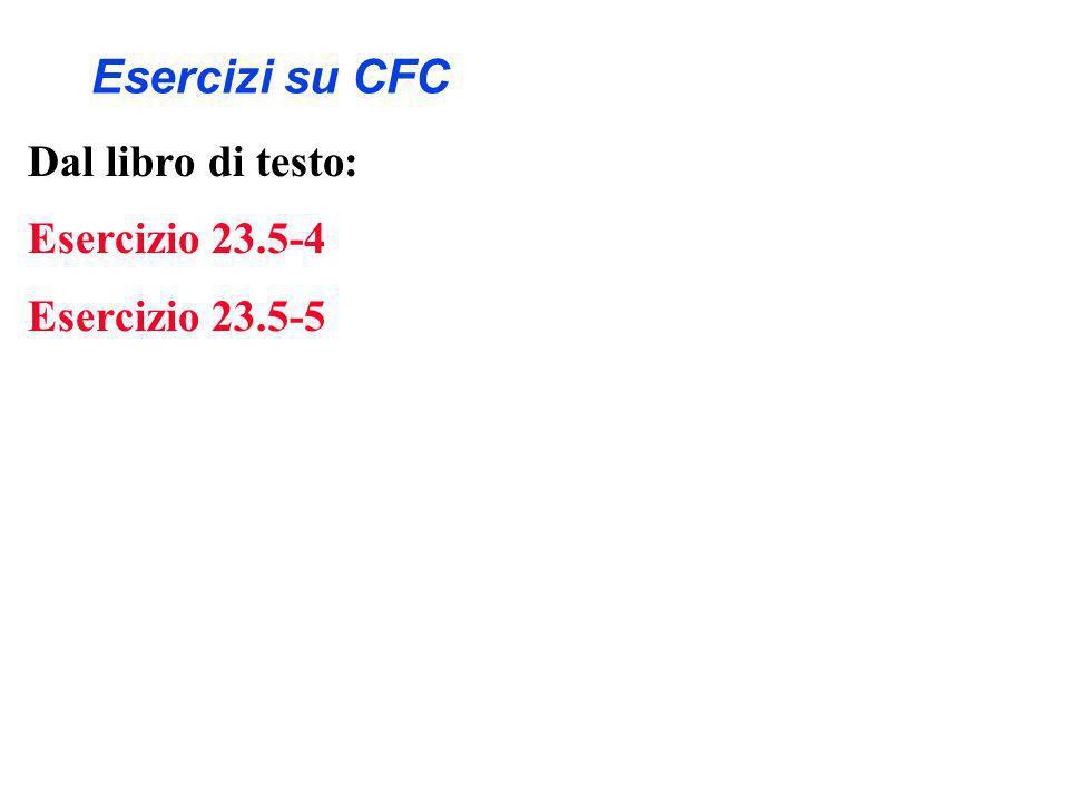 Esercizi su CFC Dal libro di testo: Esercizio 23.5-4 Esercizio 23.5-5