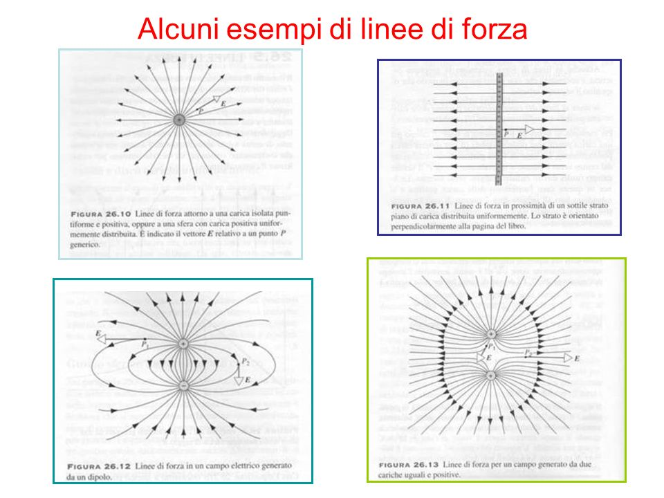 Alcuni esempi di linee di forza