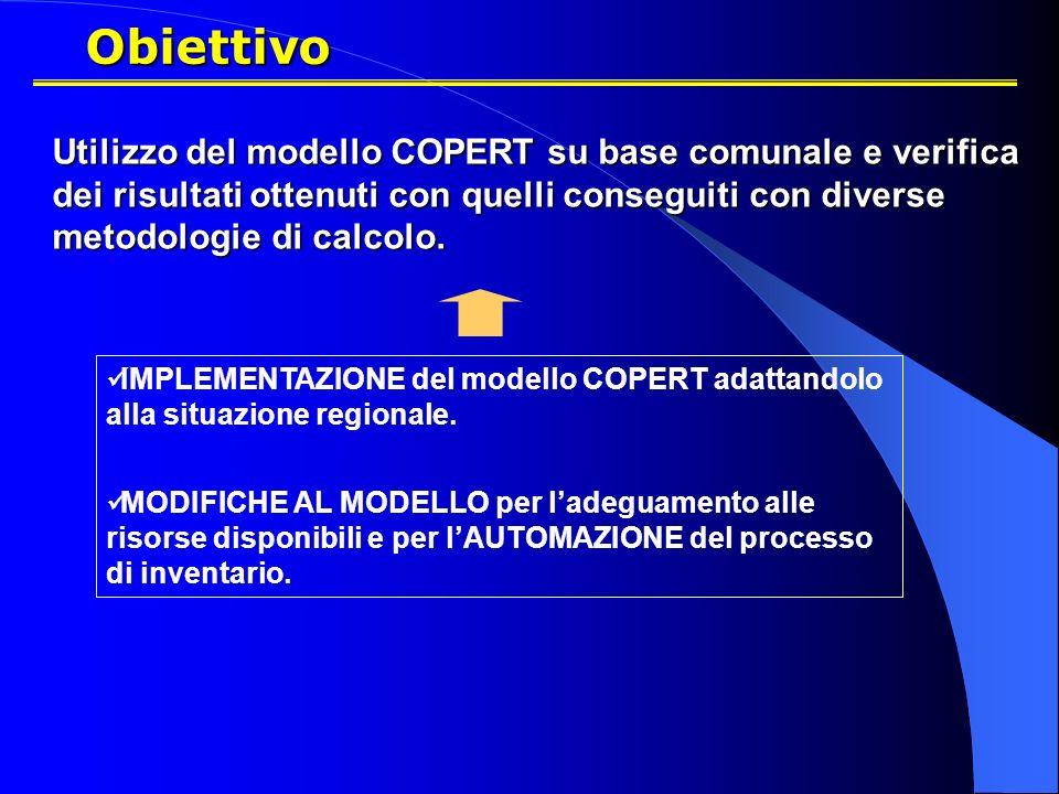 Obiettivo Utilizzo del modello COPERT su base comunale e verifica dei risultati ottenuti con quelli conseguiti con diverse metodologie di calcolo.