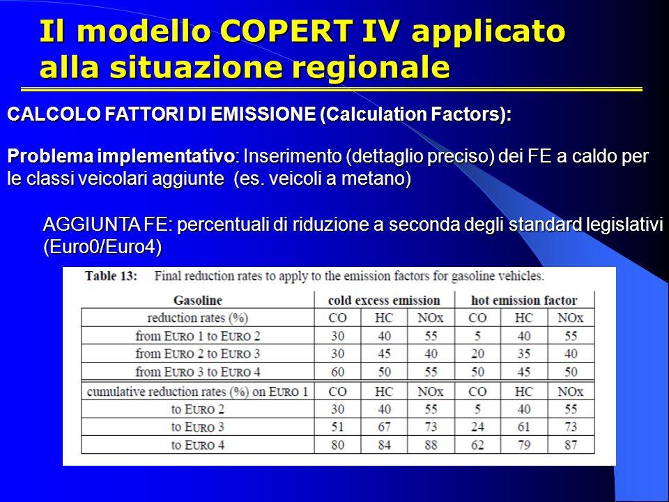 Il modello COPERT IV applicato alla situazione regionale