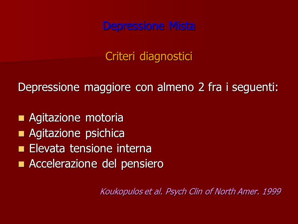 Depressione maggiore con almeno 2 fra i seguenti: Agitazione motoria