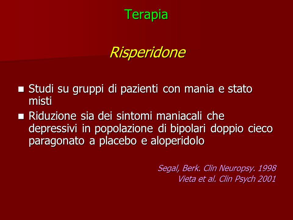 Terapia Risperidone. Studi su gruppi di pazienti con mania e stato misti.