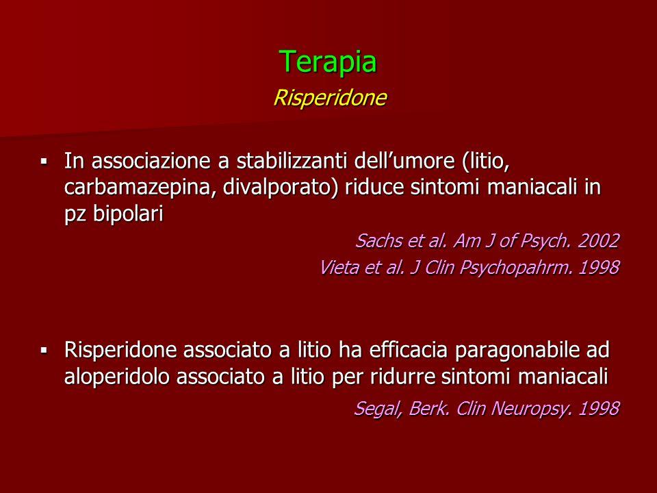 TerapiaRisperidone. In associazione a stabilizzanti dell'umore (litio, carbamazepina, divalporato) riduce sintomi maniacali in pz bipolari.