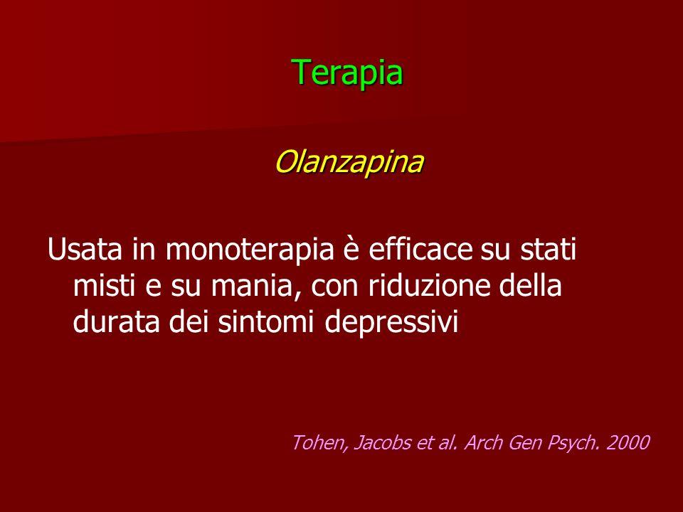 Terapia Olanzapina. Usata in monoterapia è efficace su stati misti e su mania, con riduzione della durata dei sintomi depressivi.