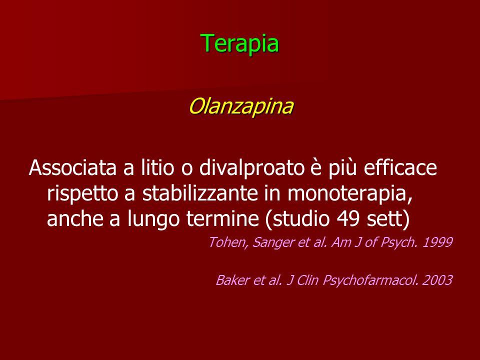 TerapiaOlanzapina. Associata a litio o divalproato è più efficace rispetto a stabilizzante in monoterapia, anche a lungo termine (studio 49 sett)