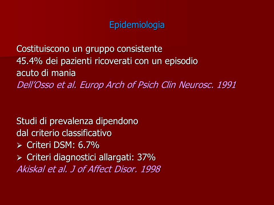 Epidemiologia Costituiscono un gruppo consistente. 45.4% dei pazienti ricoverati con un episodio. acuto di mania.