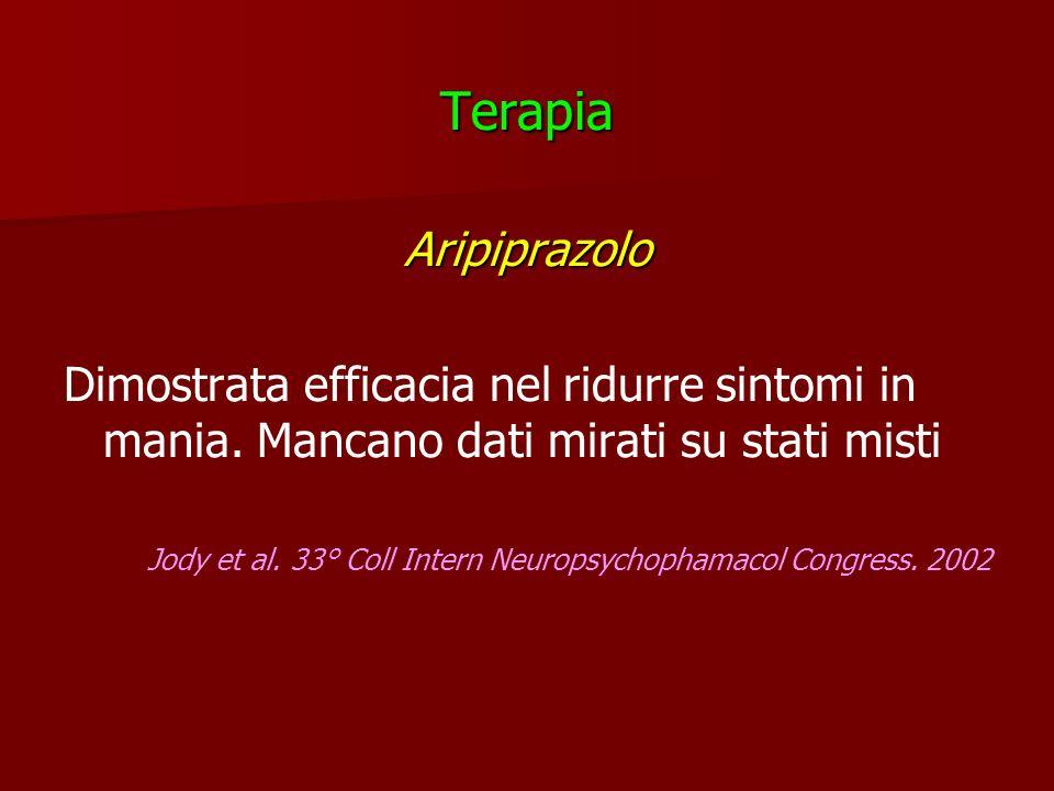 Terapia Aripiprazolo. Dimostrata efficacia nel ridurre sintomi in mania. Mancano dati mirati su stati misti.