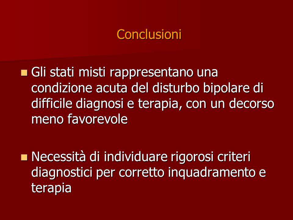 Conclusioni Gli stati misti rappresentano una condizione acuta del disturbo bipolare di difficile diagnosi e terapia, con un decorso meno favorevole.