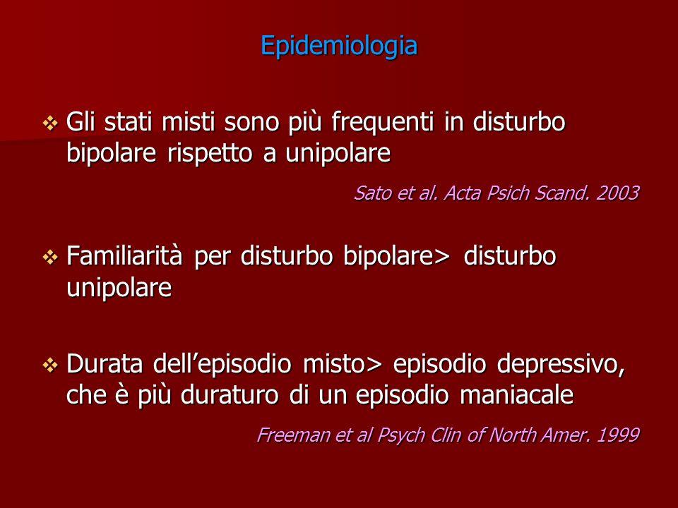 Epidemiologia Gli stati misti sono più frequenti in disturbo bipolare rispetto a unipolare. Sato et al. Acta Psich Scand. 2003.