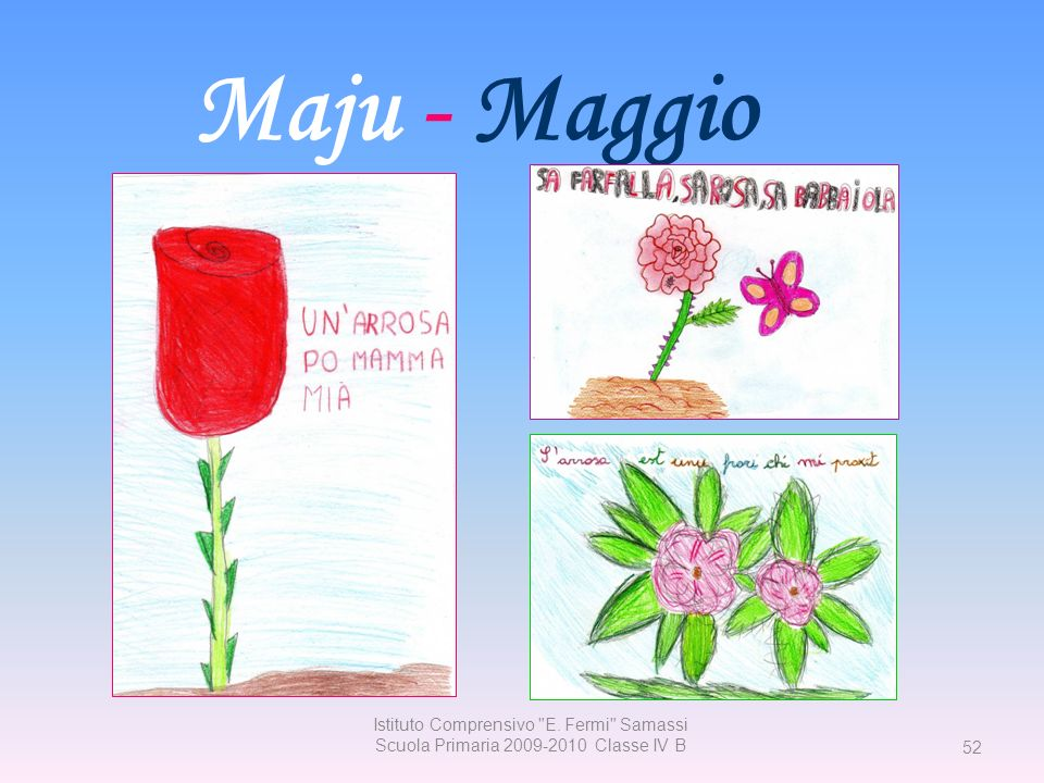 Maju - Maggio Istituto Comprensivo E. Fermi Samassi Scuola Primaria 2009-2010 Classe IV B 52