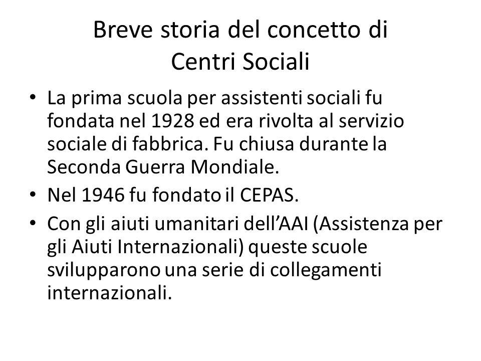 Breve storia del concetto di Centri Sociali