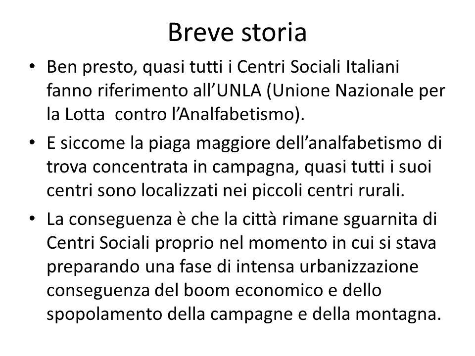 Breve storiaBen presto, quasi tutti i Centri Sociali Italiani fanno riferimento all'UNLA (Unione Nazionale per la Lotta contro l'Analfabetismo).