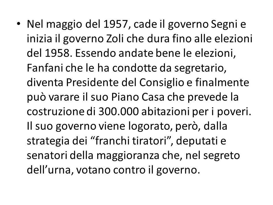 Nel maggio del 1957, cade il governo Segni e inizia il governo Zoli che dura fino alle elezioni del 1958.